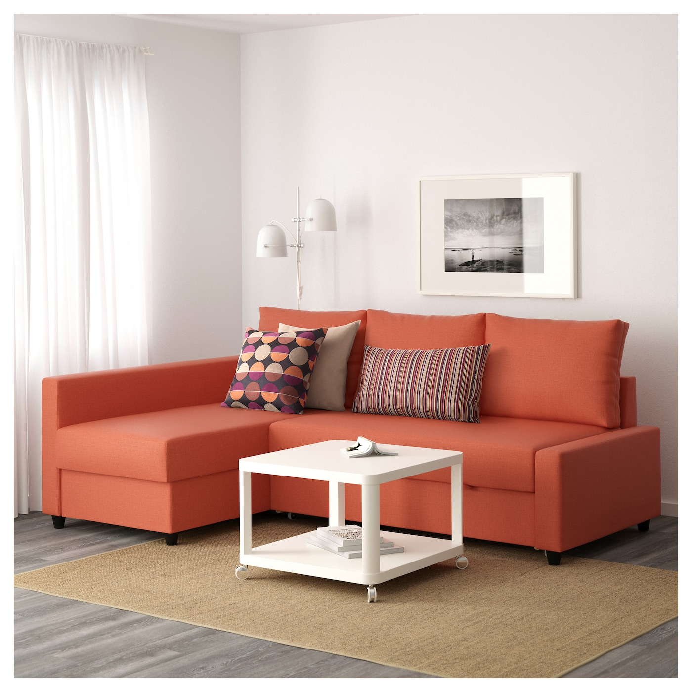 Friheten corner sofa bed with storage skiftebo dark orange for Divano friheten