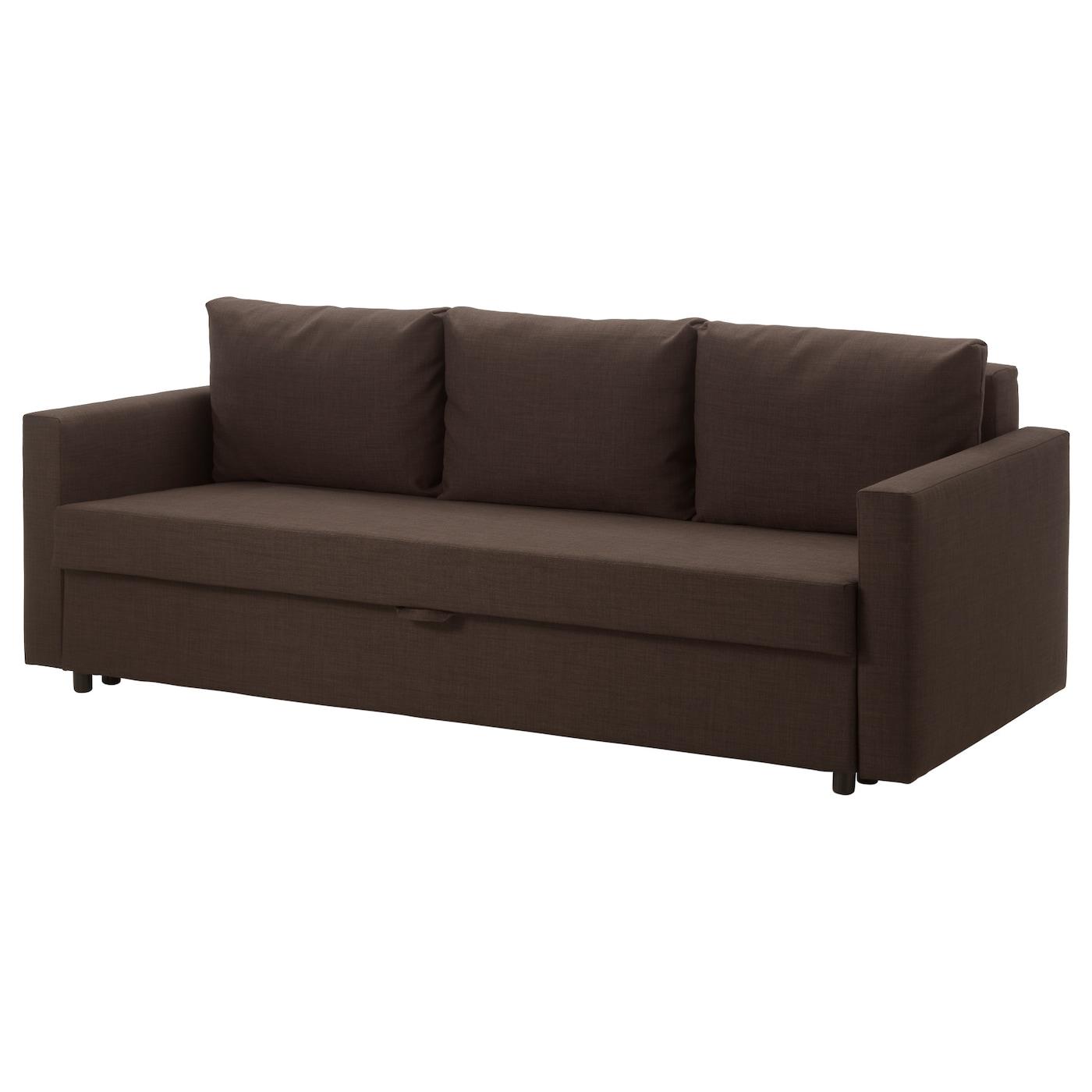 Friheten three seat sofa bed skiftebo brown ikea for Divano friheten
