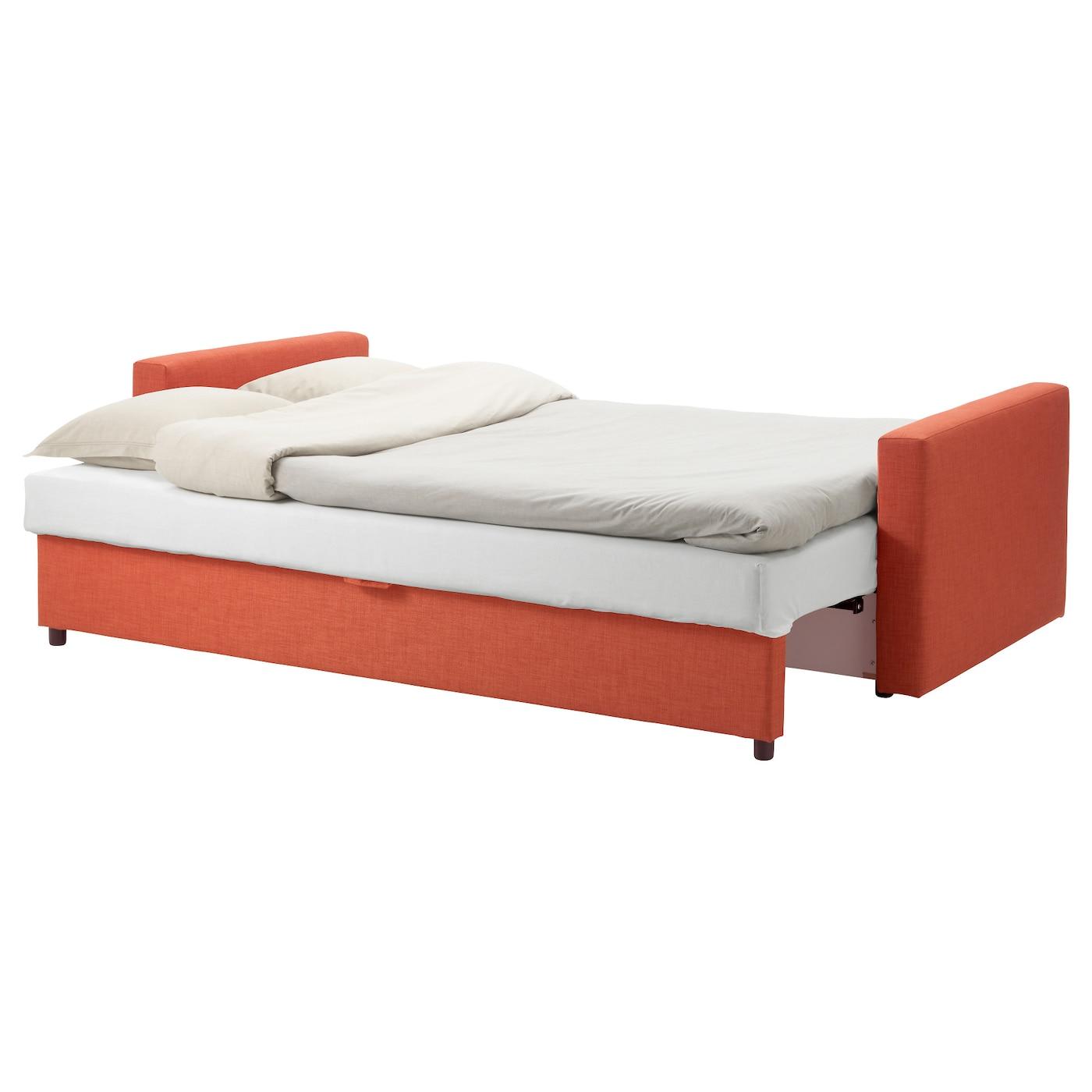 Friheten three seat sofa bed skiftebo dark orange ikea for Sofa bed ikea