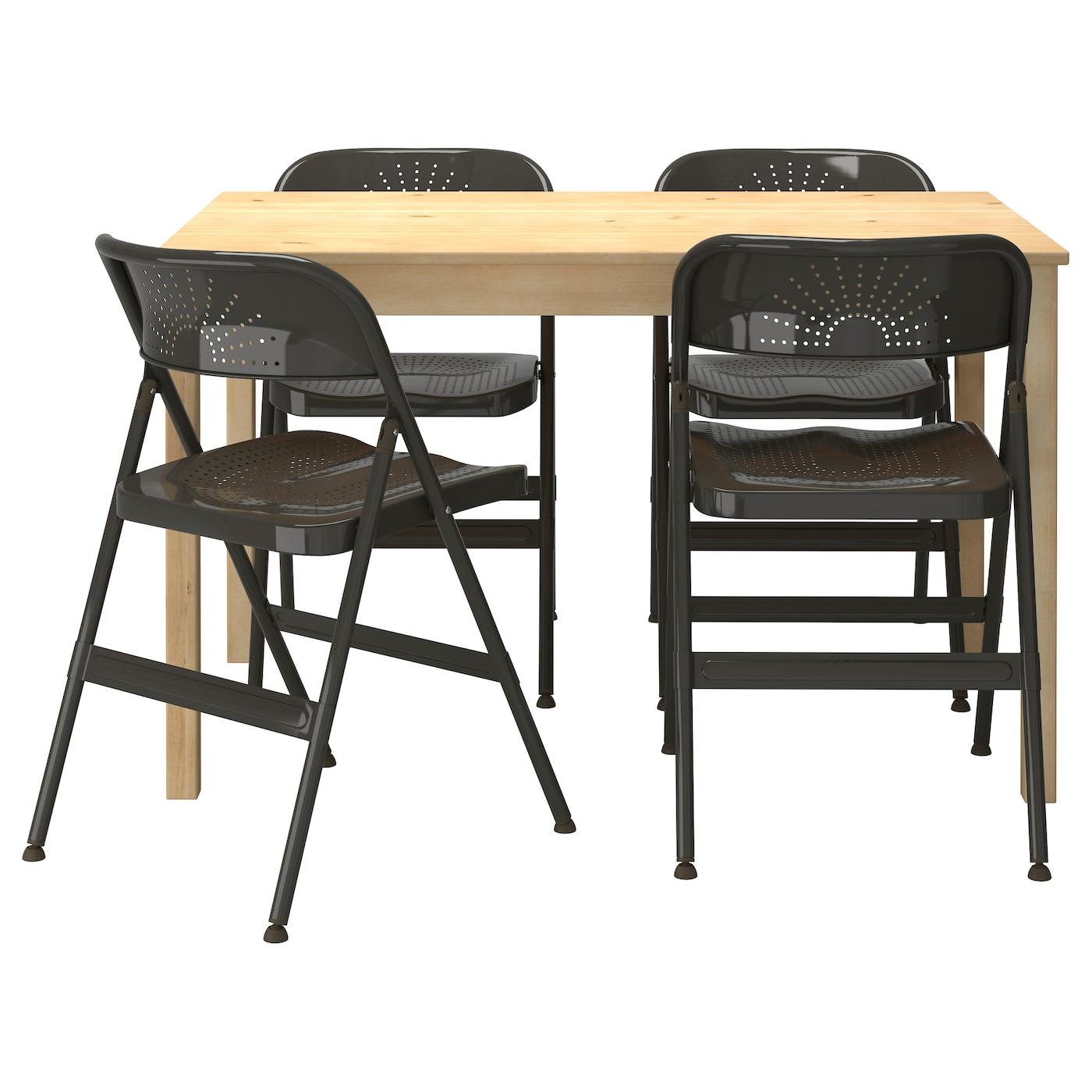 FRODE INGO Table And 4 Chairs Pine Dark Grey 120 Cm IKEA