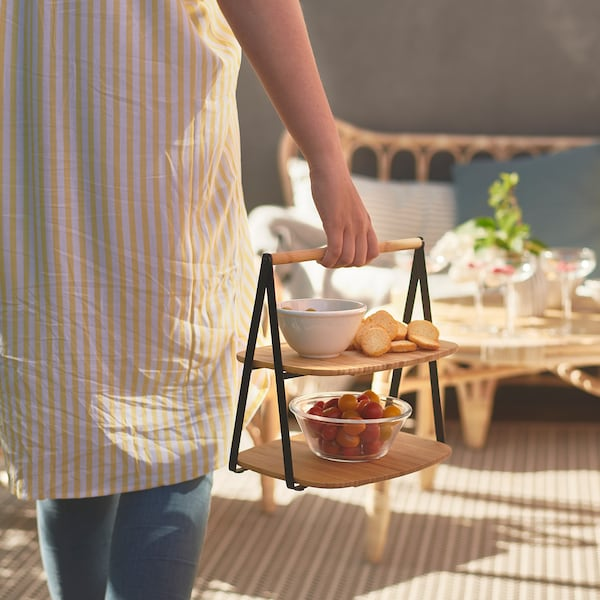 FULLSPÄCKAD Serving tray, bamboo/black, 28x20 cm
