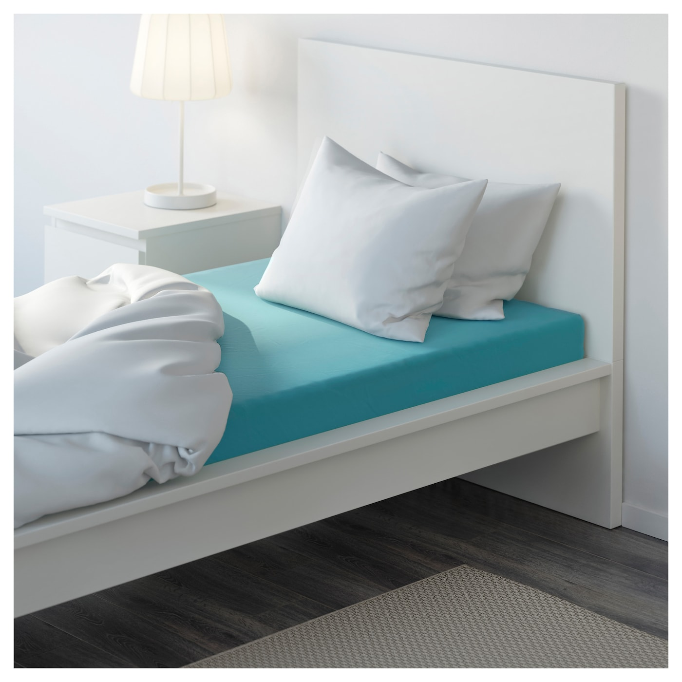 GÄSPA Fitted sheet Turquoise 90×200 cm  IKEA