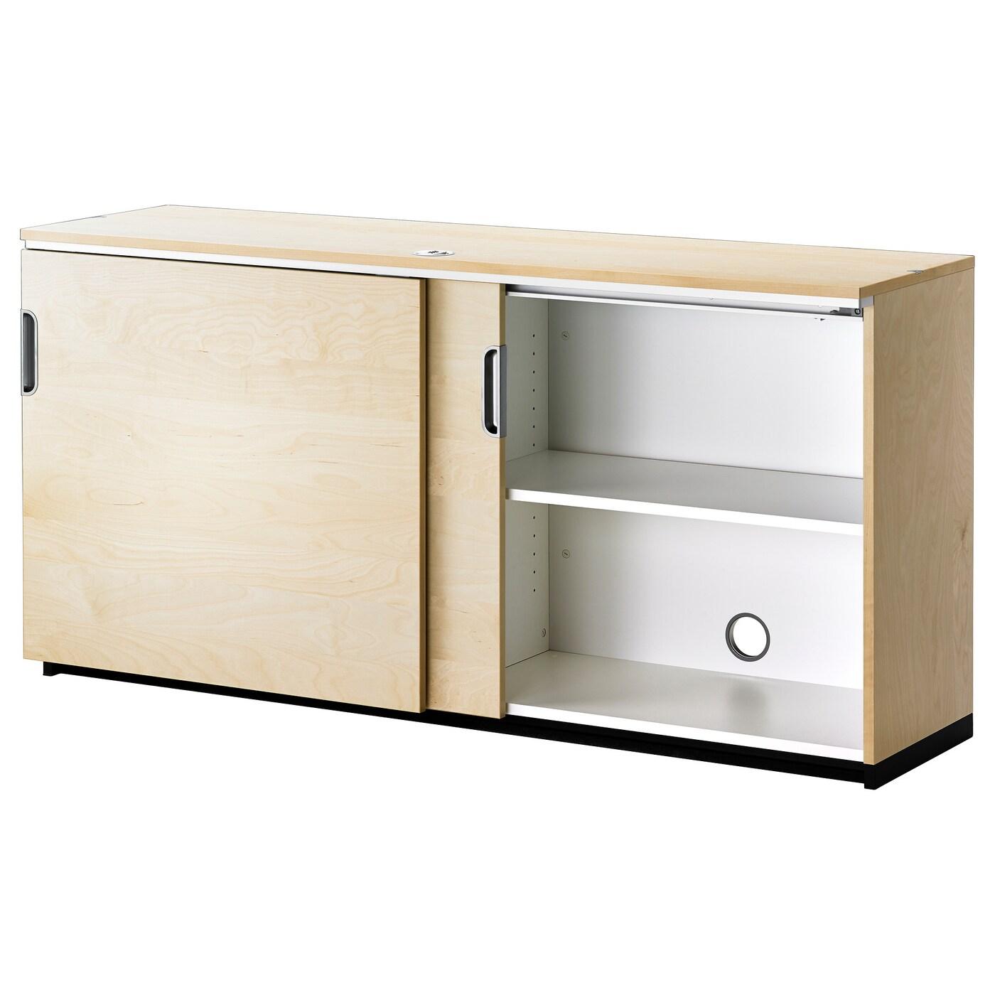 Galant Cabinet With Sliding Doors Birch Veneer 160 X 80 Cm Ikea