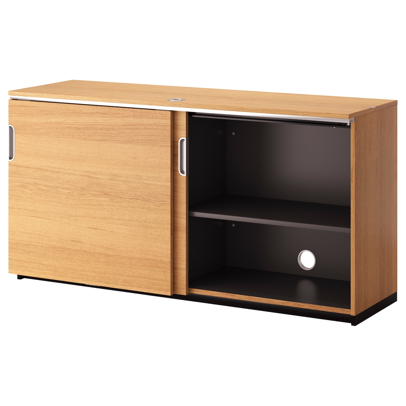 Galant cabinet with sliding doors oak veneer 160 x 80 cm - Ikea cabinet doors on existing cabinets ...