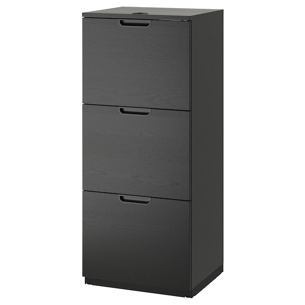 GALANT File cabinet, black stained ash veneer, 51x120 cm