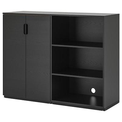 GALANT Storage combination, black stained ash veneer, 160x120 cm