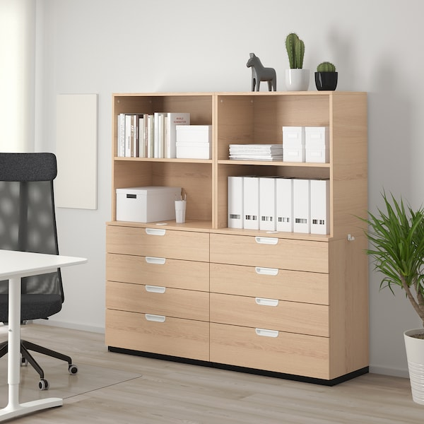 GALANT Storage combination with drawers, white stained oak veneer, 160x160 cm