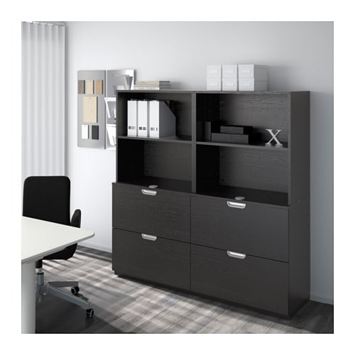 Ikea Trofast Wooden Shelves ~ GALANT Storage combination with filing Black brown 160×160 cm  IKEA