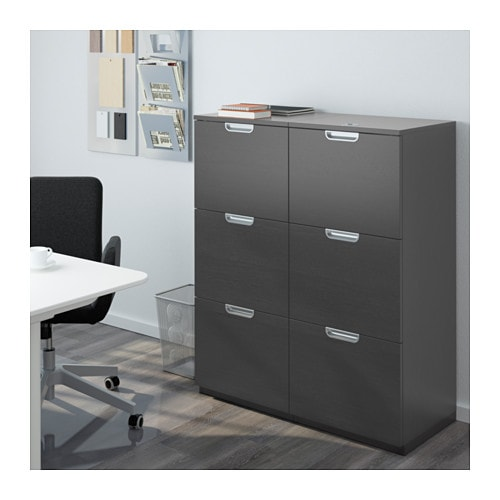 Galant storage combination with filing black brown 102x120 cm ikea - Muebles oficina ikea ...