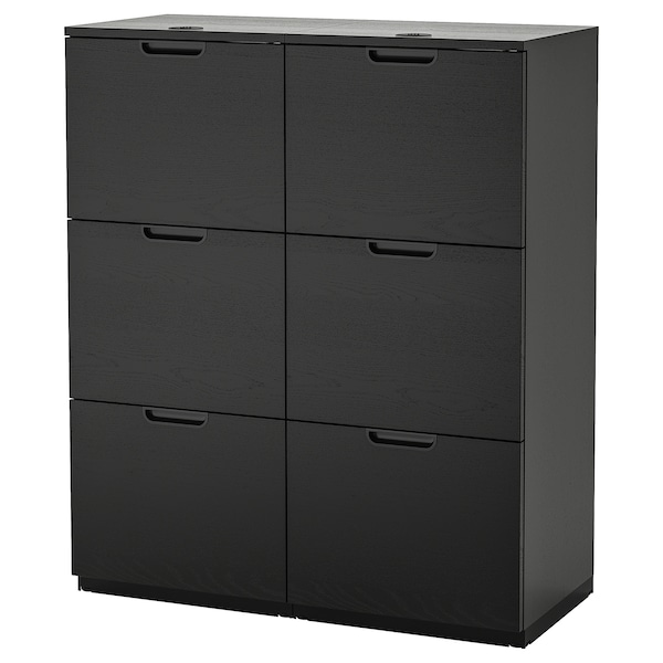 GALANT Storage combination with filing, black stained ash veneer, 102x120 cm