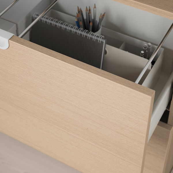 GALANT Storage combination with filing, white stained oak veneer, 160x160 cm