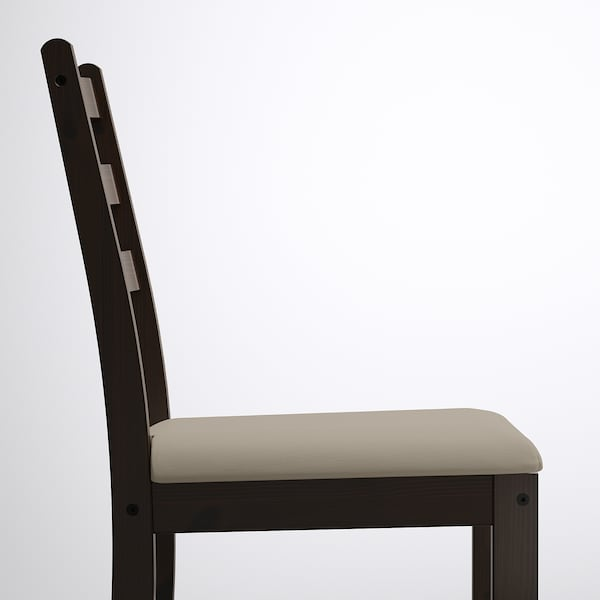 GAMLARED / LERHAMN Table and 2 chairs, light antique stain black-brown/Vittaryd beige