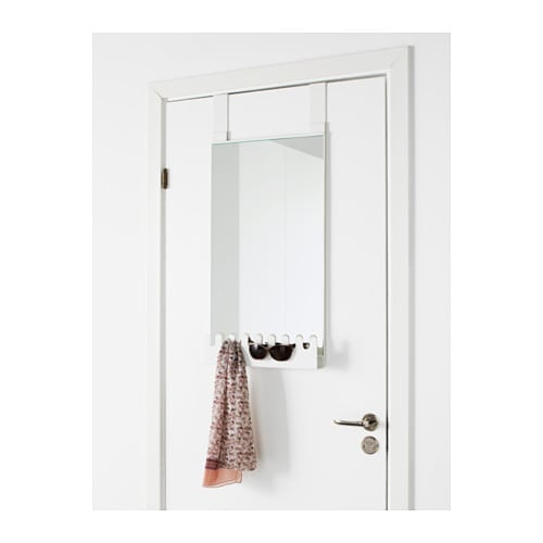 garnes over the door mirror w hooks shelf white 38x83 cm