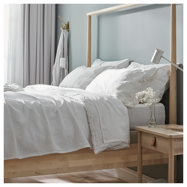 GJÖRA Bed frame, birch/Lönset, Standard King