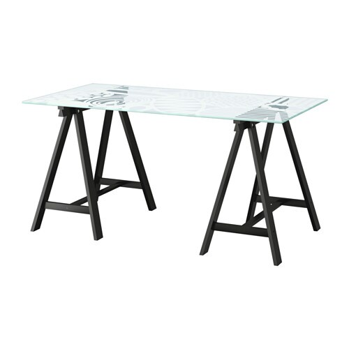 IKEA GLASHOLM/ODDVALD table The table top in tempered glass is stain resistant and easy to clean.