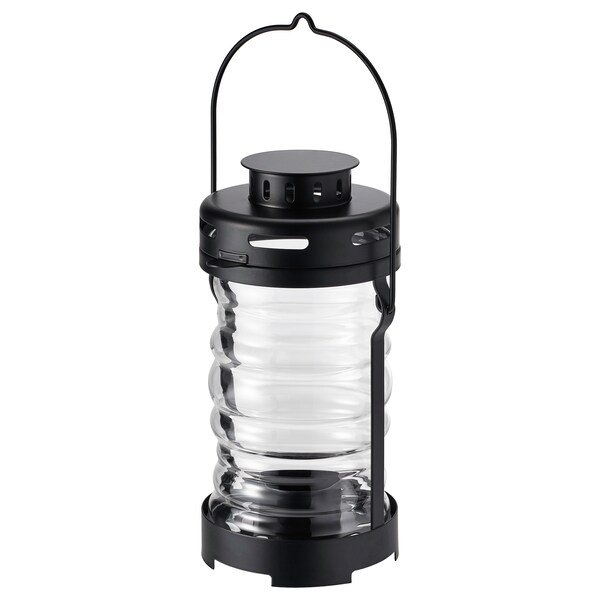GLIMRANDE Lantern for tealight, in/outdoor, black, 23 cm