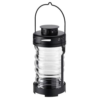 GLIMRANDE Lantern for tealight, in/outdoor, black, 23 cm