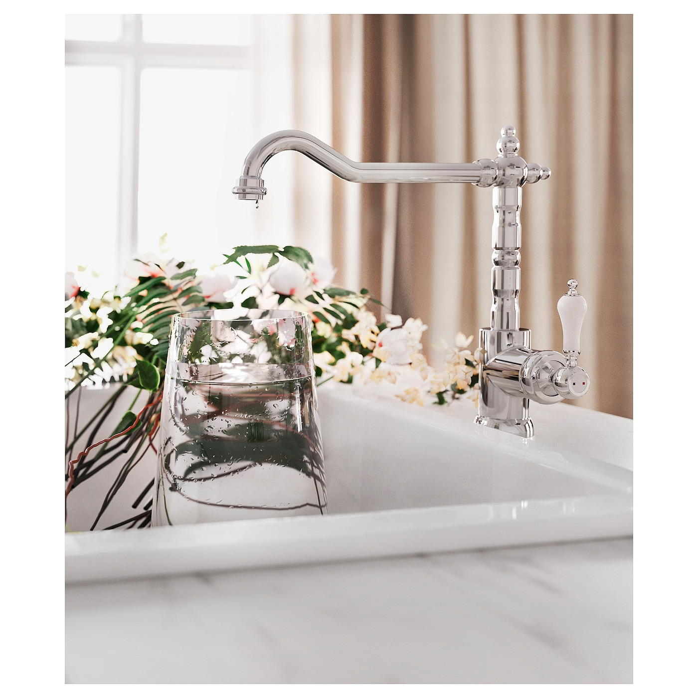 IKEA GLITTRAN kitchen mixer tap 10 year guarantee. Read about the terms in the guarantee brochure.
