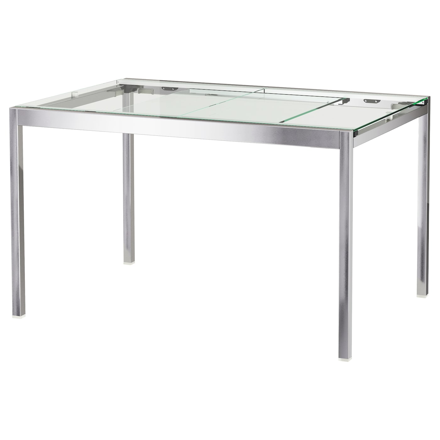 GLIVARP Extendable table Transparent chrome plated 125 188x85 cm