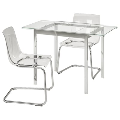 GLIVARP / TOBIAS Table and 2 chairs, transparent/chrome-plated transparent, 75 cm