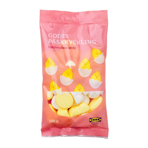 GODIS PÅSKKYCKLING Easter marshmallow candy IKEA Banana and vanilla flavoured marshmallow chickens.