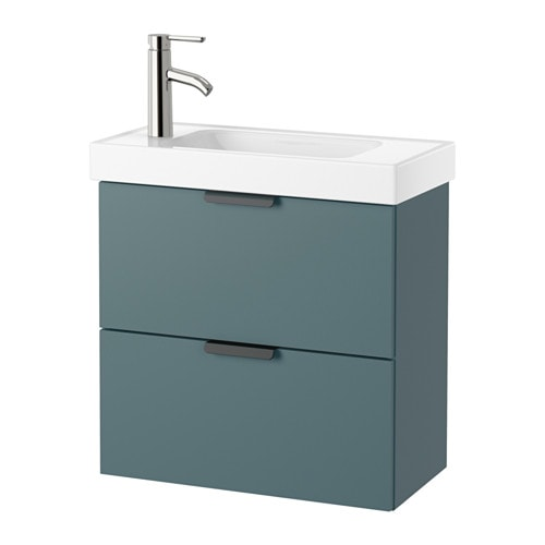 GODMORGON HAGAVIKEN Wash Stand With 2 Drawers Grey Turquoise 60x34x65 Cm IKEA