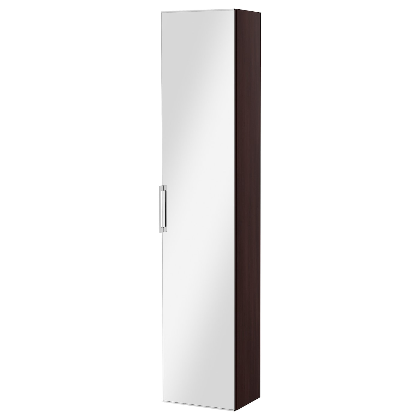 godmorgon high cabinet with mirror door black brown