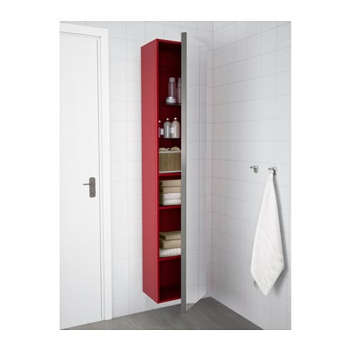 Godmorgon high cabinet with mirror door high gloss red for Red high gloss kitchen doors