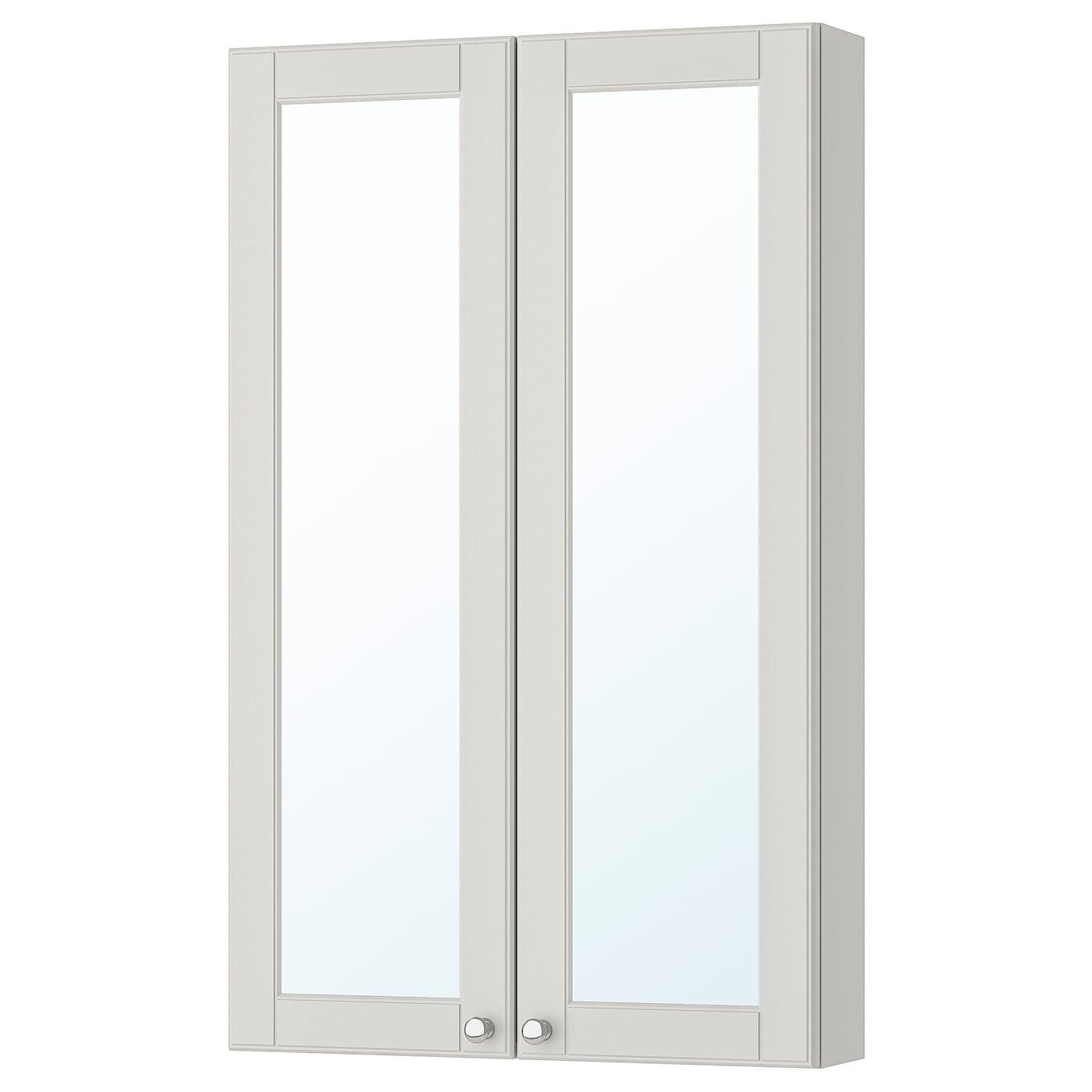 GODMORGON Mirror cabinet with 2 doors, Kasjön light grey ...