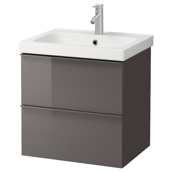 GODMORGON / ODENSVIK Wash-stand with 2 drawers, high-gloss grey/Dalskär tap, 63x49x64 cm
