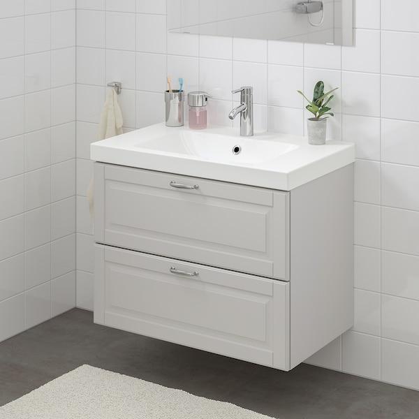 GODMORGON / ODENSVIK Wash-stand with 2 drawers, Kasjön light grey/Hamnskär tap, 83x49x64 cm