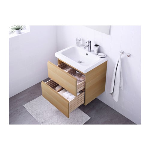 Ikea Godmorgon Drawer Organizer ~ GODMORGON ODENSVIK Wash stand with 2 drawers White stained oak effect