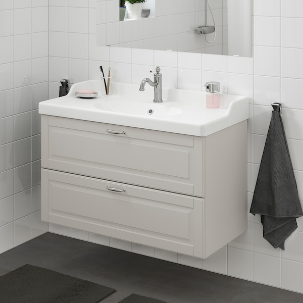 GODMORGON / RÄTTVIKEN wash-stand with 2 drawers Kasjön light grey/Hamnskär tap 102 cm 49 cm 68 cm