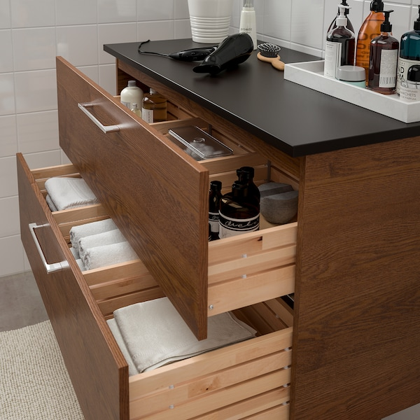 GODMORGON / TOLKEN wash-stand with 2 drawers brown stained ash effect/anthracite 82 cm 49 cm 60 cm