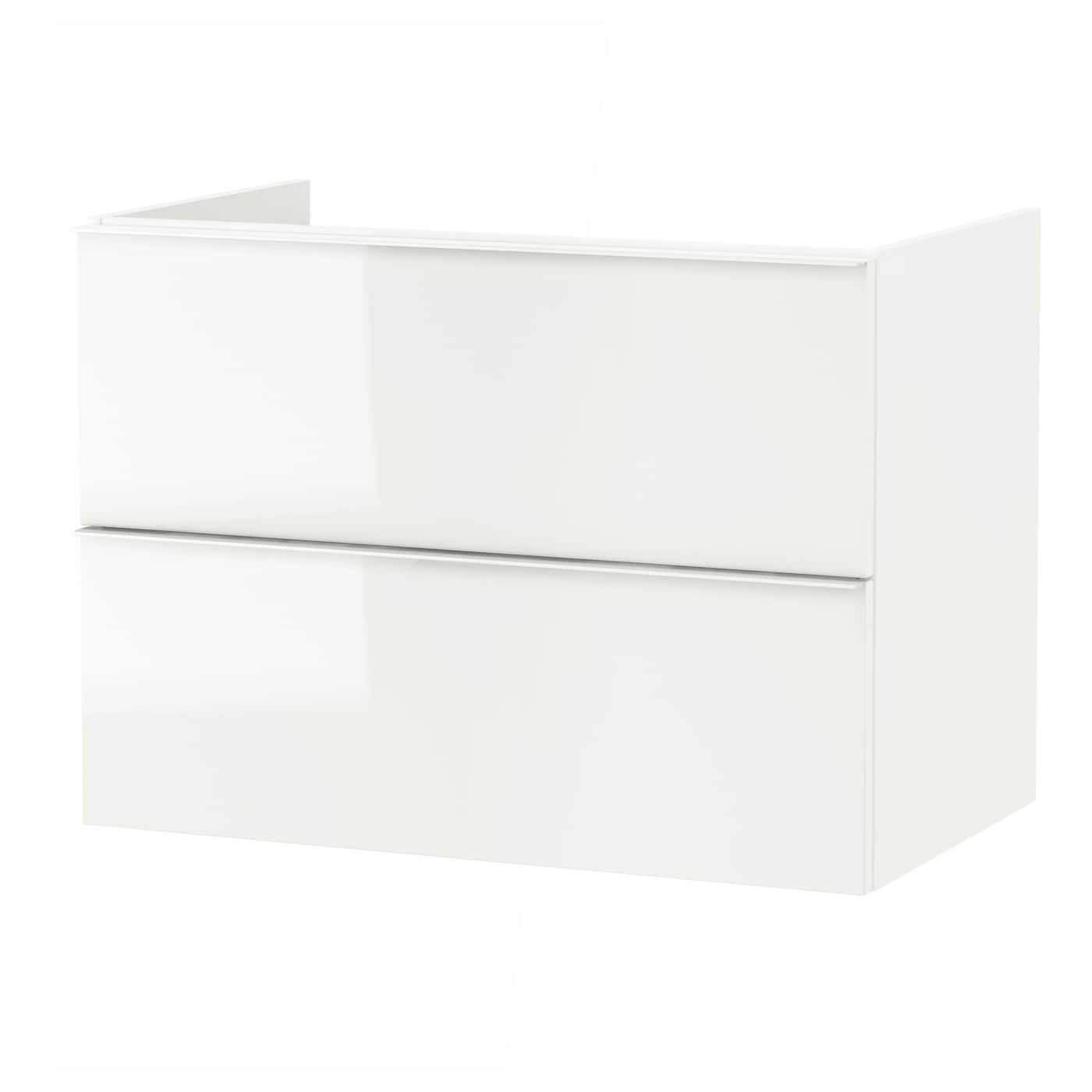 godmorgon wash stand with 2 drawers high gloss white 80 x 47 x 58 cm ikea. Black Bedroom Furniture Sets. Home Design Ideas