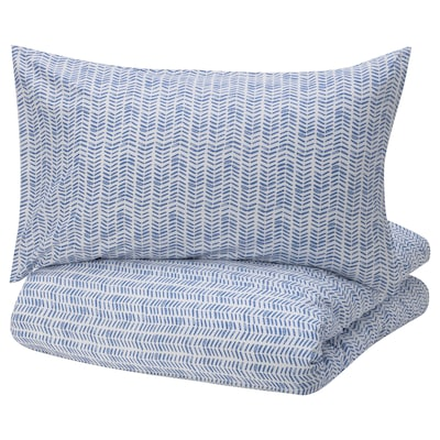 GÖMBLOMMA Quilt cover and 2 pillowcases, blue/white, 200x200/50x80 cm