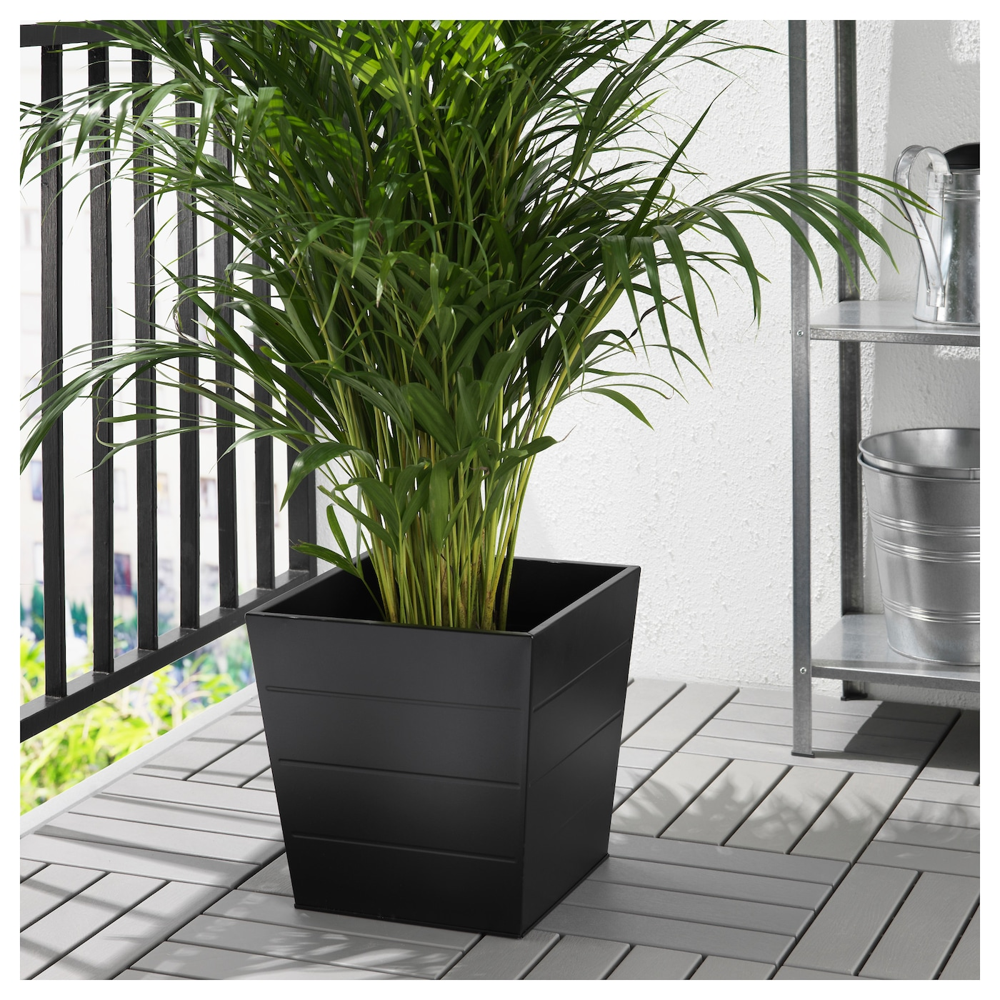 Gr set plant pot outdoor black 30x30 cm ikea for Black planters ikea