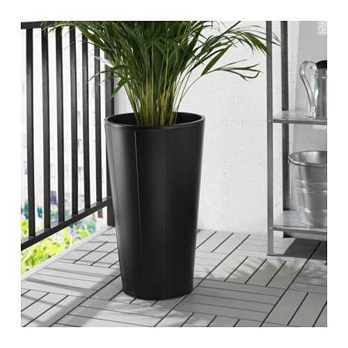Gr set plant pot outdoor black 32 cm ikea for Black planters ikea