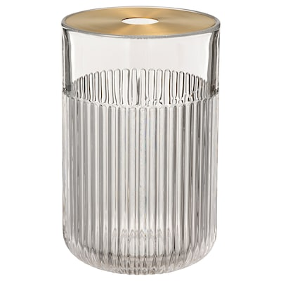 GRADVIS Vase with metal insert, clear glass/gold-colour, 21 cm