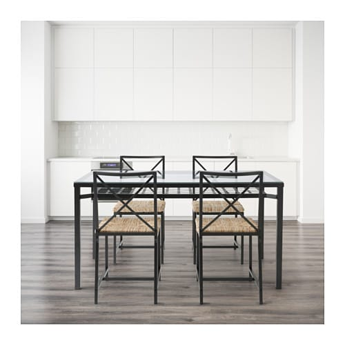 Gran s table and 4 chairs black glass ikea - Glass dining table ikea ...