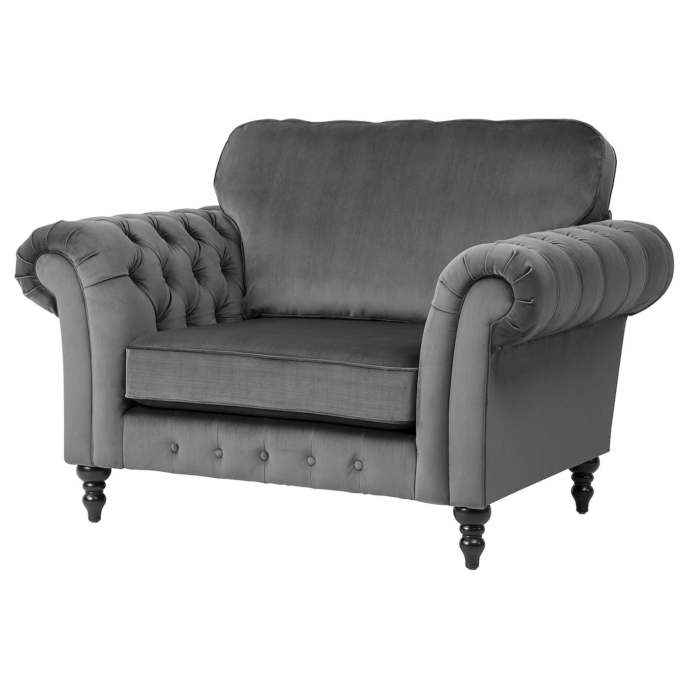 GREVIE Armchair - velvet grey - IKEA Ireland