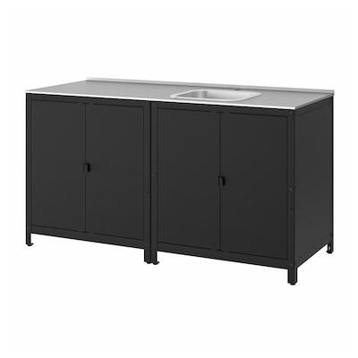 GRILLSKÄR Kitchen sink unit/cabinet, outdoor, stainless steel, 172x61 cm