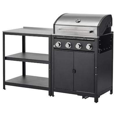 GRILLSKÄR Outdoor kitchen, stainless steel, 158x61 cm