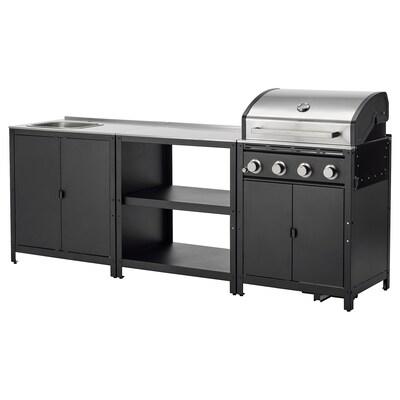 GRILLSKÄR Outdoor kitchen, stainless steel, 244x61 cm
