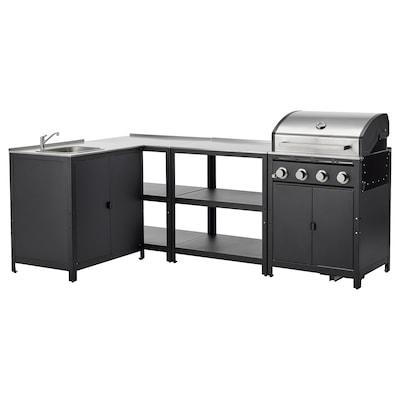 GRILLSKÄR Outdoor kitchen, stainless steel, 258x147 cm