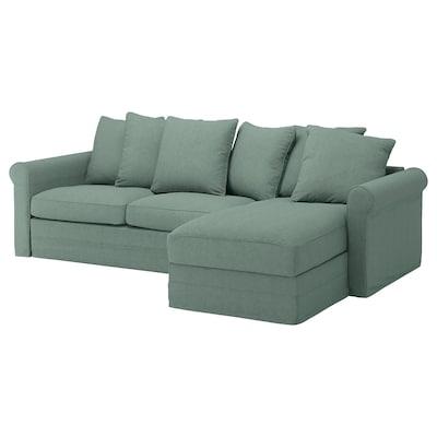 GRÖNLID 3-seat sofa-bed, with chaise longue/Tallmyra light green