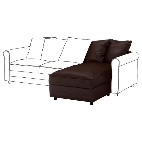 GRÖNLID Chaise longue section, Kimstad dark brown