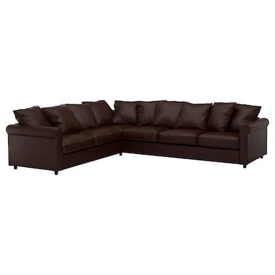 GRÖNLID Corner sofa, 5-seat, Kimstad dark brown