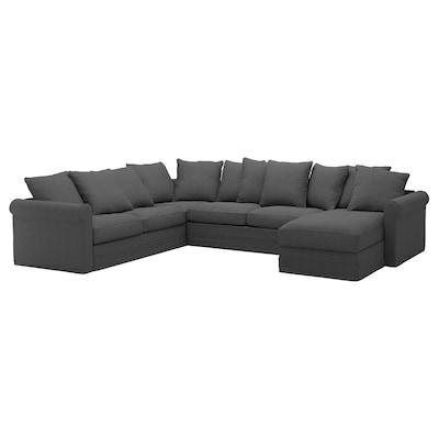 GRÖNLID Corner sofa-bed, 5-seat, with chaise longue/Tallmyra medium grey