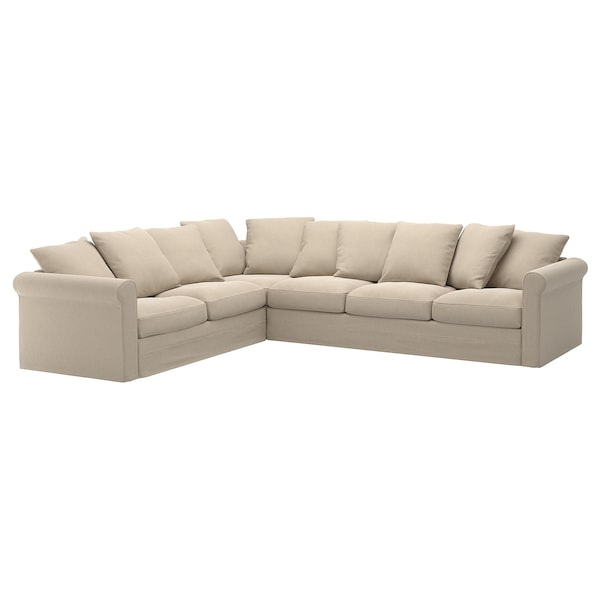 GRÖNLID cover for corner sofa, 5-seat Sporda natural